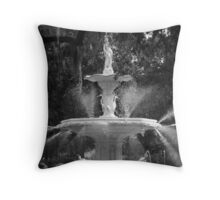 Savannah Fountain #1, Georgia Throw Pillow