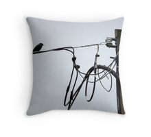 Starling on Wire Throw Pillow