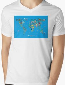 Animal Map of the World for children and kids Mens V-Neck T-Shirt