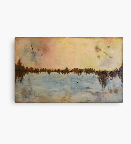 """Large Abstract painting - cream and blue - huge textured painting -'Land of Joy"""" Landscape' - 59x35,5inches(150x90cm) Canvas Print"""