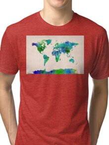 Watercolor Map of the World Map Tri-blend T-Shirt