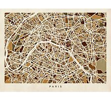 Paris France Street Map Photographic Print