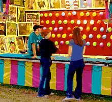 Twilight at a Carnival with Girls Playing by Bob Fox