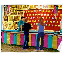 Twilight at a Carnival with Girls Playing Poster