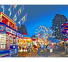 Carnival Midway at Twilight Photographic Print