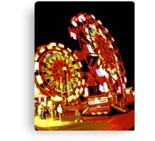 Two Ferris Wheels at Night Canvas Print