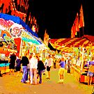 Carnival Midway at Night with Girls Talking by Bob Fox