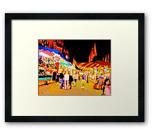 Carnival Midway at Night with Girls Talking Framed Print