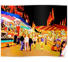 Carnival Midway at Night with Girls Talking Poster