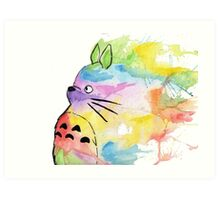Rainbow Totoro Art Print