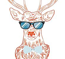 Deer hipster in glasses, hand drawn style by AnnArtshock