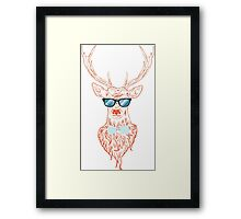 Deer hipster in glasses, hand drawn style Framed Print