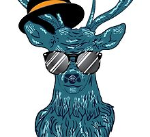 Deer hipster in glasses, hand drawn style 2 by AnnArtshock