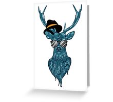 Deer hipster in glasses, hand drawn style 2 Greeting Card