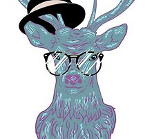 Deer hipster in glasses, hand drawn style 3 by AnnArtshock