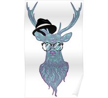 Deer hipster in glasses, hand drawn style 3 Poster