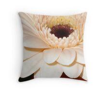 Peach gerbera macro Throw Pillow