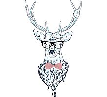 Deer hipster in glasses, hand drawn style 4 Photographic Print