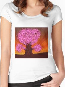 Fantasy tree of pink color Women's Fitted Scoop T-Shirt