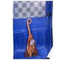Broom On Blue Door Poster