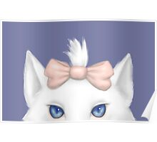 White Kitty with a bow Poster