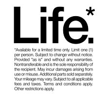 Life.* Available for a limited time only. White by WORDS BRAND™