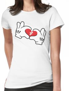 Mickey broken heart Womens Fitted T-Shirt