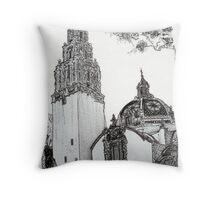 The California Bell Tower and Museum of Man Building - San Diego Throw Pillow