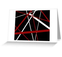 Red and White Stripes on A Black Background Greeting Card