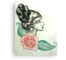 Illustration no.1 Gypsy Head with Rose Canvas Print