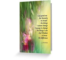 Serenity Prayer Pink and Red Irises 2 Greeting Card