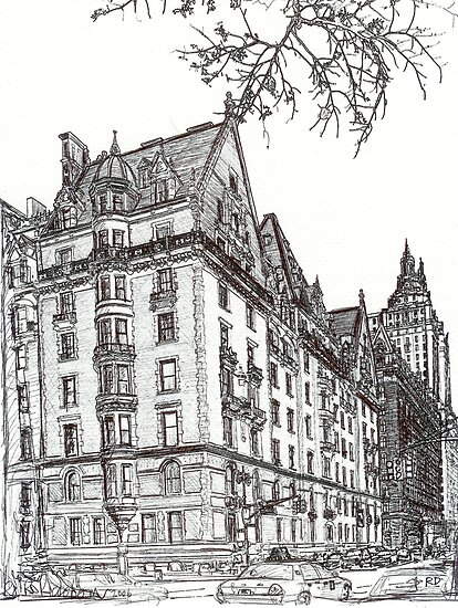 Central Park West, New York City drawing by RD Riccoboni by RDRiccoboni