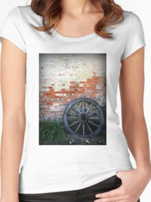 Old Cart Wheel against Brick Wall Women's Fitted Scoop T-Shirt