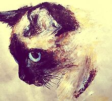 Siamese Cat Acrylic On Paper Painting Pet Portrait Home Decor by JamesPeart