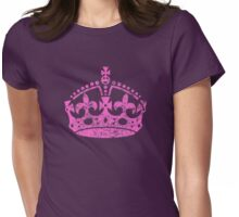 Distressed Grunge Keep Calm Crown Womens Fitted T-Shirt