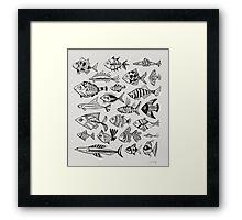 Black Inked Fish Framed Print