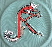 Celtic Fox Letter K - Embroidery by Donna Huntriss