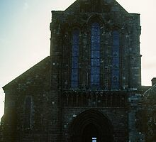 Facade of Ruins of Lanercost Priory Cumbria England 198405260009 by Fred Mitchell