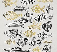 Grey & Gold Inked Fish by Cat Coquillette