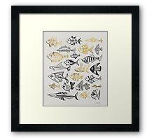 Grey & Gold Inked Fish Framed Print