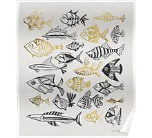 Grey & Gold Inked Fish Poster