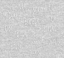 The names of the dwarves from The Hobbit One Piece - Long Sleeve