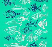 Inked Fish on Turquoise by Cat Coquillette