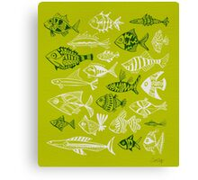Inked Fish on Lime Green Canvas Print
