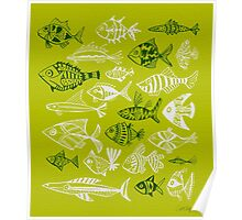 Inked Fish on Lime Green Poster