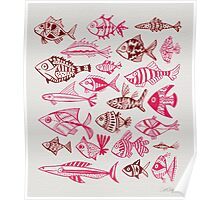Maroon & Pink Inked Fish Poster