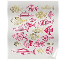 Pink & Gold Inked Fish Poster