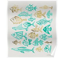 Gold & Turquoise Inked Fish Poster