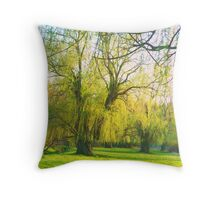 Softness of Willows Throw Pillow