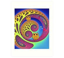 Owls in a magical world Art Print